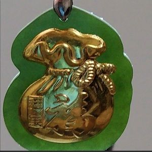 24k real gold type A real lucky jade pendant